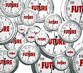 Future Word Clocks Moving Forward Tomorrow Next Progress