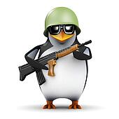3d Soldier penguin