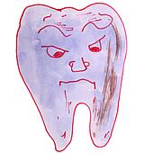 watercolor drawing kids cartoon tooth on white background