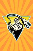Power lineman electrician worker electric cord lasso