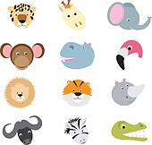 cute wild safari animal cartoon set
