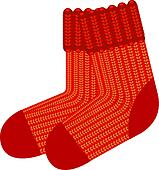 Red knit wool socks