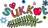 Sukkot Cartoon Doodle Text