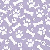 Purple and White Dog Paw Prints and Bones Tile Pattern Repeat Background
