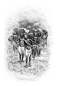 Troop of Girls Carrying Baskets in Angola, Southern Africa, vintage engraving
