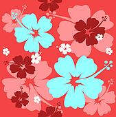 Hibiscus flower seamless Background