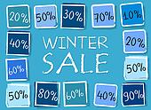 winter sale and percentages in squares - retro blue label
