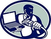 Computer Technician Holding Laptop Cable Retro