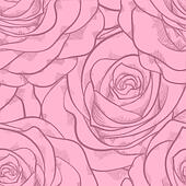 beautiful seamless pattern in pink roses with contours. Hand-drawn contour lines and strokes. Perfect for background greeting cards and invitations to the day of the wedding, birthday, Valentine's Da