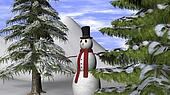 Christmas Background with a Snowman and fir trees