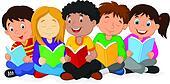 Happy children cartoon sitting on t
