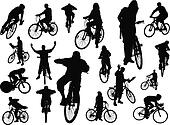 Eighteen  people silhouettes with
