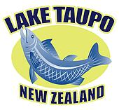 """retro style illustration of a Trout fish jumping side view with words """"lake taupo new zealand"""""""