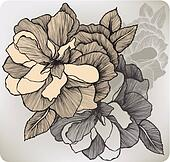 Blooming decorative rose, hand-drawing. Vector illustration.