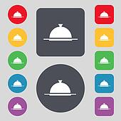 Food platter serving sign icon. Table setting in restaurant symbol. Set colourful buttons.