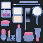 set with cosmetics and make-up