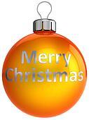Merry Xmas orange ball bauble