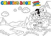 Coloring book with cute animals 3