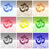 Colored aum / om collage