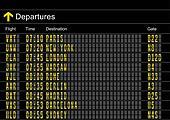 Airport departures board