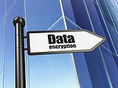 Protection concept: sign Data Encryption on Building background