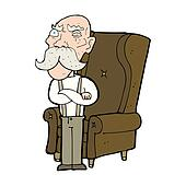 cartoon old man and chair