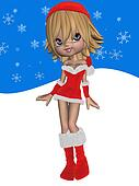 Cute Toon with Santas Suit