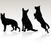 german shepherd dog vector silhouet