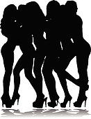 girls nude vector silhouettes