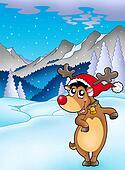 Christmas theme with happy reindeer