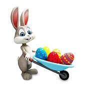 Easter bunny with eggs trolley