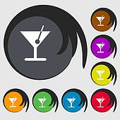 cocktail icon sign. Symbol on eight colored buttons.