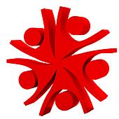 Happy red teamwork company logo