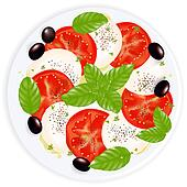 Caprese Salad With Mozzarella, Basil, Black Olives And Olive Oil