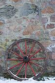 Two old wooden wagon wheel