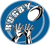 rugby player two hands catching ball