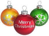 Merry Christmas balls multicolored