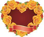 Vector orange  Rose Frame