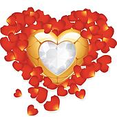 Greeting card with golden heart and