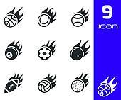 Vector black fire sport balls icons set