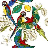 Beautiful tropical pattern with colorful parrots with lemon bran
