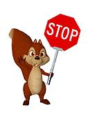 cartoon squirrel with STOP Sign