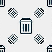 the trash icon sign. Seamless pattern with geometric texture.