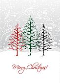 Christmas trees in forest, postcard design
