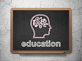 Education concept: Head With Finance Symbol and Education on chalkboard background