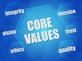 core values and business concept words in hexagons