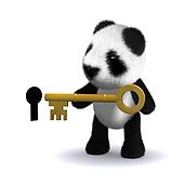 3d Panda bear with key