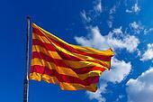 Catalonia Flag on Blue Sky