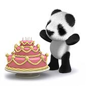 3d Baby panda bear has a lovely birthday cake