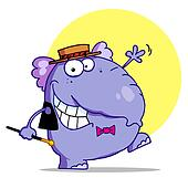 Elephant In A Hat And Bow Tie